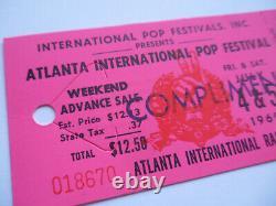 1969 ATLANTA POP FESTIVAL Original UNUSED CONCERT TICKET Zeppelin Joplin CCR