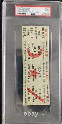 1969 Authentic Woodstock 3 Day Festival Ticket Psa 10 Best Price