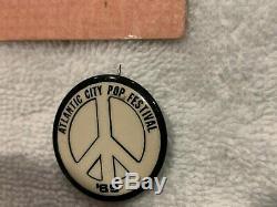 1969 TICKET ATLANTIC CITY POP FESTIVAL PIN BADGE Pinback Janis Joplin Woodstock