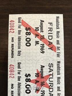 1969 Vintage Woodstock Festival 3 Day Ticket Untorn Good Condition 100% Original