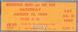 1969 WOODSTOCK Music + Art Fair Concert Festival Full Ticket Saturday PSA 8