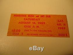 1969 Woodstock Music Festival Tickets Pristine! Genuine With Certificate Auth