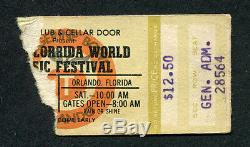 1979 Florrida Music Festival Concert Ticket Stub Aerosmith Ted Nugent Blackfoot