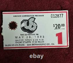 1983 US FESTIVAL Day 1 and Day 2 Concert Ticket Stubs Clash Van Halen INXS