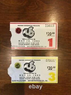 1983 US FESTIVAL Day 1 and Day 3 CONCERT TICKET Stubs Clash U2 INXS Bowie +++
