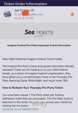 2 2021 Imagine Music Festival 3-Day Passes + 2 Thurs Pre Party Passes Wristband