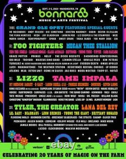(2) 4-DAY GA + Tix Bonnaroo Music & Arts Festival 2021 Wristbands SOLD OUT