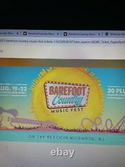 (2) Barefoot Country Music Festival Wildwood Nj Aug 19-22 Vip Main Stage Tickets