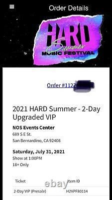 2-Day VIP Pass HARD SUMMER Music Festival 2021 (Sold Out)