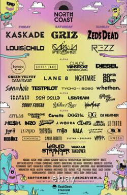 2 North Coast Music Festival 3-Day GA Tickets (Kaskade & Louis the Child) 9/3/21