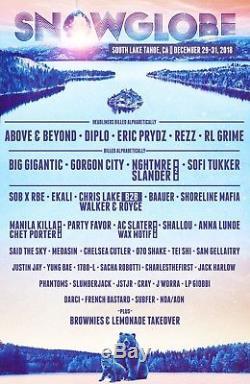 2 Tickets Snowglobe Music Festival 3 Day Pass 12/29/18-12/31/18 S. Lake Tahoe, CA
