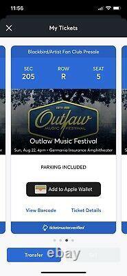 2 Tics, Outlaw Music Festival Tickets, Austin TX, 8/22. Nelson, Stapleton, more