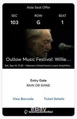 2 Tix Aisle Sec 103 Row G Outlaw Music Festival -VB Avett Bro Willie Nelson
