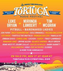 2Tortuga Music Festival Ft. Lauderdale, FL 3 day gen adm tickets Oct 2,3,4 2020