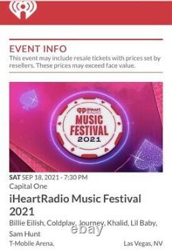 4 Iheart Music Festival Floor A Tickets Las Vegas Saturday September 18