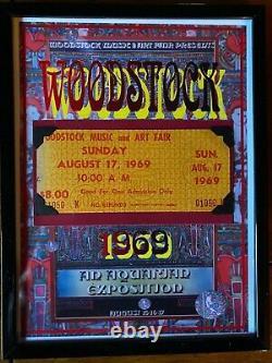 Authentic 1-Day Framed Original 1969 Woodstock Festival ticket COA letter