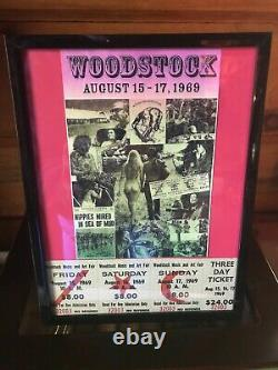 Authentic 3-Day Frame/mat Original 1969 Woodstock Festival ticket and post card