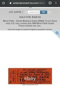 BLIND FAITH FESTIVAL 1969 CONCERT TICKET Eric Clapton Steve Winwood Ginger Baker