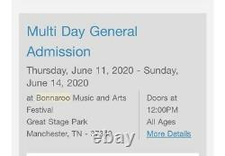 BONNAROO 2021 MUSIC FESTIVAL 4 Day GA TICKET