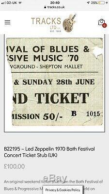 Bath Festival 1970 Weekend Ticket Led Zeppelin, Pink Floyd, Frank Zappa