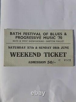 Bath Festival Of Blues & Progressive Music 1970. Unused Entry Ticket, Pink Floyd