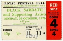 Black Sabbath Emerson Lake & Palmer Royal Festival Hall, London 26/10/70 Ticket
