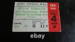 Black Sabbath Original Concert Ticket Royal Festival Hall London Uk Oct 1970