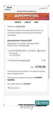 Boardmasters Festival 2021 5 Day Camping Ticket! Sold OUT