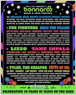 Bonnaroo Music & Arts Festival 4 day pass 4 day GA Ticket Sept 2-5 2021
