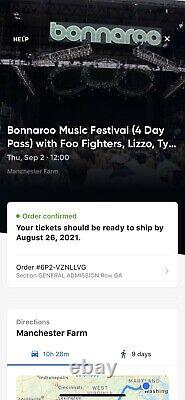 Bonnaroo Music Festival Ticket TWO General Admission 4-day pass