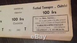 CHRISTOPHE+1966+1967+Sheila+Johnny Hallyday+Ticket de concert+Festival Teenagers