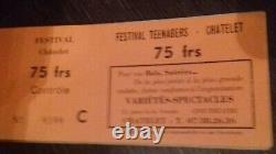 CHRISTOPHE+1966+1967+Sheila+Johnny Hallyday+Ticket de concert+Festival Teenagers