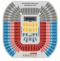 CMA Country Music Festival 2020, 2 Floor Tickets Gold Circle Row 15 Seats 5 & 6