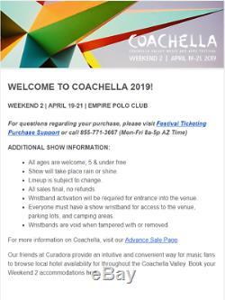 Coachella Valley Music Festival 2019 Weekend 2 Tickets
