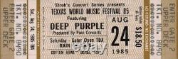 Deep Purple / Bon Jovi 1985 Texxas World Music Festival Unused Ticket / Nm 2 Mnt