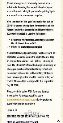 Electric Forest 2021 Music Festival 4 Day GA Wristband With Camping