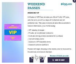 Firefly 2021 Music Festival 2 VIP Weekend Passes Sept. 23-26
