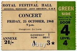 Frank Zappa & Mothers Of Invention Royal Festival Hall, London 25/10/68 Ticket