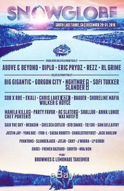 GA 3 Day Snowglobe Music Festival Ticket with Shuttle Pass