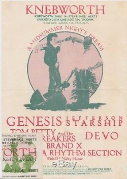Genesis Original 1978 Knebworth A4 Festival Flyer/Mini Poster & Ticket Stub