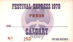 Grateful Dead / Janis Joplin 1970 Festival Express Calgary Press Pass / Ticket