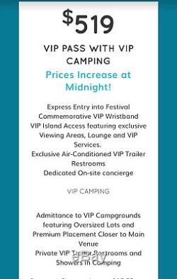 IMAGINE Music Festival (1) VIP 3-day wristband WITH VIP Camping Atlanta, GA