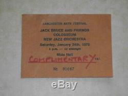 Jack Bruce & Friends/Colosseum 1970 Lanchester Arts Festival Concert Ticket