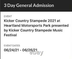 Kicker country stampede music festival 2021 general admission ticket