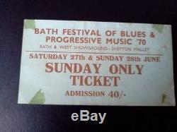 Led Zeppelin ticket Frank Zappa Santana Bath Festival Sunday 28/06/70