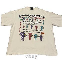 Lollapalooza 1992 Shirt With Original Ticket White Sz XL Single Stitch Vintage