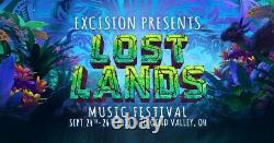 Lost Lands Music Festival 3 Day Pass Ticket wristband GA 2021 Excision