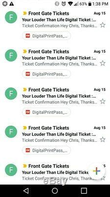 Louder Than Life Music Festival 3 Day Pass General Admission Digital Tickets