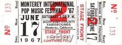 Monterey International Pop Music Festival 1967 Unused Ticket / Janis Joplin