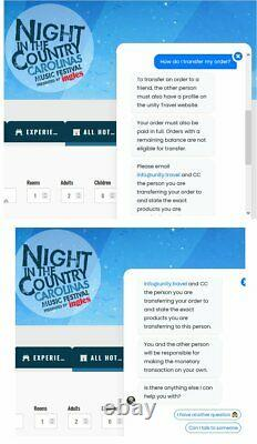 NIGHT IN THE COUNTRY CAROLINAS 2 x VIP TICKETS 3 DAY MUSIC FESTIVAL AUG 26-28th